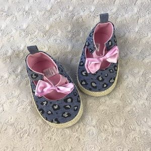 First Steps Baby Girl Shoes Leopard Print Pink Bow